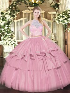 Low Price Baby Pink Scoop Zipper Lace and Ruffled Layers Quinceanera Gown Sleeveless