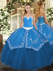 Admirable Blue Quince Ball Gowns Military Ball and Sweet 16 and Quinceanera with Appliques and Embroidery Sweetheart Sleeveless Lace Up