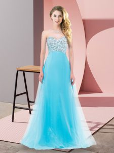 Delicate Aqua Blue Empire Sweetheart Sleeveless Tulle Floor Length Lace Up Beading Prom Dresses