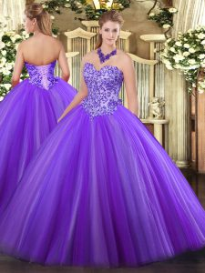 Eggplant Purple Lace Up Sweet 16 Dresses Appliques Sleeveless Floor Length