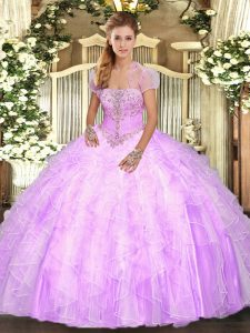 Perfect Lilac Tulle Lace Up Quinceanera Dresses Sleeveless Floor Length Appliques and Ruffles