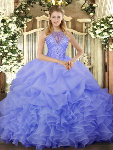 Blue Sleeveless Organza Lace Up Sweet 16 Quinceanera Dress for Military Ball and Sweet 16 and Quinceanera