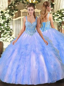 Vintage Straps Sleeveless Quinceanera Gown Floor Length Beading and Ruffles Light Blue Tulle