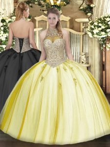 Yellow Lace Up Sweet 16 Quinceanera Dress Beading and Appliques Sleeveless Floor Length