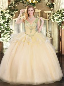Deluxe Floor Length Lace Up Quinceanera Dress Champagne for Military Ball and Sweet 16 and Quinceanera with Beading