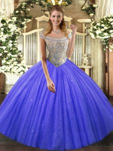 Adorable Ball Gowns Quinceanera Dress Blue Off The Shoulder Tulle and Sequined Sleeveless Floor Length Lace Up