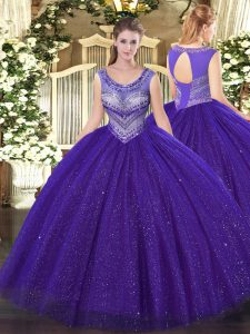 Great Beading Quinceanera Dress Purple Lace Up Sleeveless Floor Length