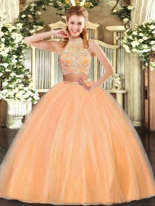 Nice Sleeveless Floor Length Beading Criss Cross Quinceanera Gowns with Orange Red