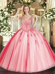 Coral Red Quinceanera Gown Military Ball and Sweet 16 and Quinceanera with Beading V-neck Sleeveless Lace Up