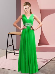 Chiffon V-neck Sleeveless Side Zipper Beading and Ruching Evening Dress in Green