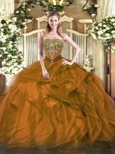 Floor Length Lace Up Quinceanera Dress Brown for Military Ball and Sweet 16 and Quinceanera with Beading and Ruffles