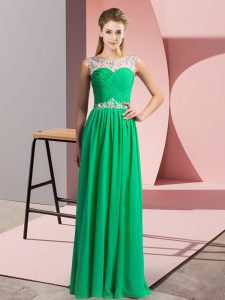 Super Green Scoop Neckline Beading Sleeveless Clasp Handle