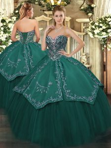 Sweetheart Sleeveless Taffeta and Tulle Quinceanera Gown Beading and Embroidery Lace Up