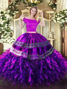 Eggplant Purple Organza and Taffeta Zipper Off The Shoulder Short Sleeves Floor Length 15th Birthday Dress Embroidery and Ruffles