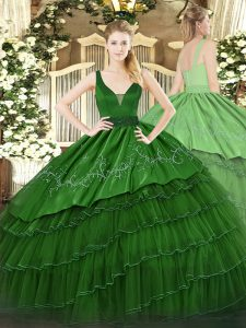 Dark Green Ball Gowns Straps Sleeveless Organza and Taffeta Floor Length Zipper Beading and Embroidery and Ruffled Layers Ball Gown Prom Dress