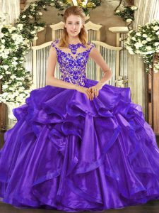 Floor Length Ball Gowns Cap Sleeves Purple Sweet 16 Dress Lace Up