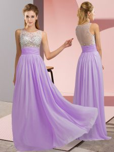 Delicate Scoop Sleeveless Prom Party Dress Floor Length Beading Lavender Chiffon