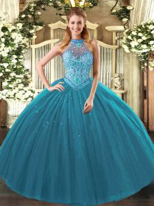 Cute Sleeveless Floor Length Beading and Embroidery Lace Up Sweet 16 Dresses with Teal