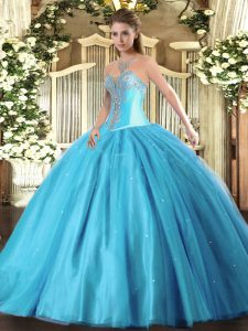 Captivating Aqua Blue Sleeveless Floor Length Beading Lace Up Quinceanera Gowns