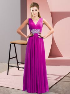 Floor Length Side Zipper Prom Evening Gown Fuchsia for Prom and Party with Beading and Ruching