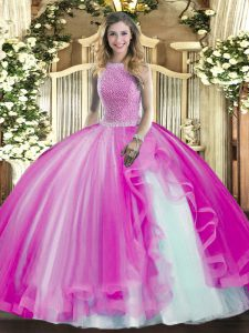 Beading and Ruffles Quince Ball Gowns Fuchsia Lace Up Sleeveless Floor Length