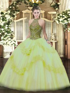 Ball Gowns Quinceanera Dress Light Yellow Halter Top Tulle Sleeveless Floor Length Lace Up