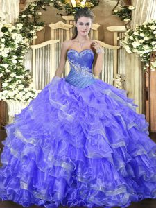 Organza Sweetheart Sleeveless Lace Up Beading and Ruffled Layers 15 Quinceanera Dress in Blue