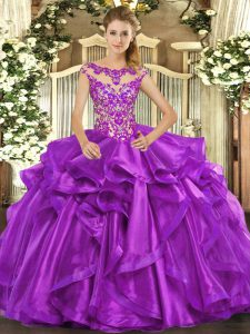 Top Selling Cap Sleeves Appliques and Ruffles Lace Up Quince Ball Gowns