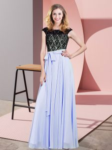 Floor Length Lavender Prom Gown Chiffon Sleeveless Lace and Belt