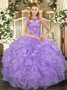 Cap Sleeves Lace Up Floor Length Beading and Appliques and Ruffles 15th Birthday Dress