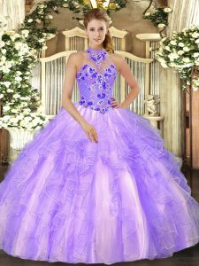 Graceful Halter Top Sleeveless Quinceanera Dress Floor Length Beading and Ruffles Lavender Organza