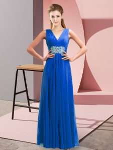 Free and Easy Beading and Ruching Dress for Prom Blue Lace Up Sleeveless Floor Length