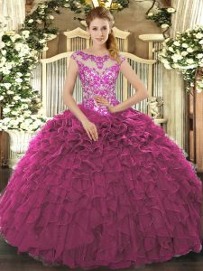 Customized Scoop Cap Sleeves 15 Quinceanera Dress Floor Length Beading and Appliques and Ruffles Fuchsia Organza