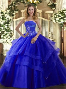 Royal Blue Sleeveless Beading and Ruffled Layers Floor Length Quinceanera Gowns