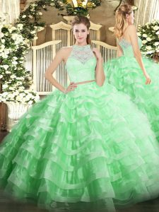Flare Floor Length Zipper Quinceanera Dresses Apple Green for Military Ball and Sweet 16 and Quinceanera with Lace and Ruffled Layers