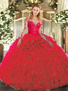Best Red Lace Up 15th Birthday Dress Lace and Ruffles Sleeveless Floor Length