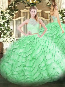 Excellent Apple Green Scoop Zipper Lace and Ruffles Sweet 16 Dresses Brush Train Sleeveless