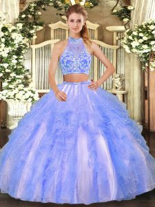 Two Pieces Quinceanera Dress Lavender Strapless Tulle Sleeveless Floor Length Criss Cross