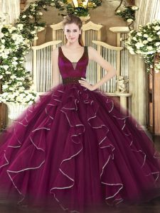 Fuchsia Sleeveless Tulle Zipper Quinceanera Gown for Military Ball and Quinceanera
