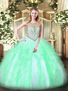 Floor Length Zipper Sweet 16 Dresses Apple Green for Military Ball and Sweet 16 and Quinceanera with Beading and Ruffles