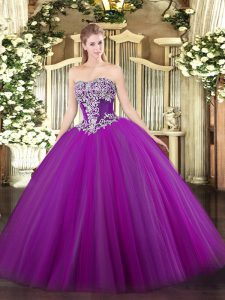 Purple Ball Gowns Tulle Strapless Sleeveless Beading Floor Length Lace Up Vestidos de Quinceanera