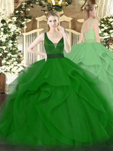 Custom Designed Straps Sleeveless Sweet 16 Dress Floor Length Beading and Ruffles Dark Green Tulle