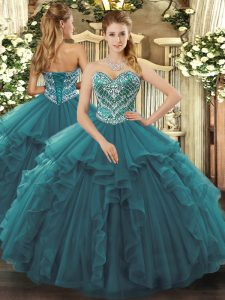 Floor Length Ball Gowns Sleeveless Turquoise Vestidos de Quinceanera Lace Up