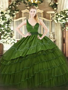 Suitable Dark Green Sleeveless Floor Length Beading and Embroidery and Ruffled Layers Zipper Sweet 16 Dresses