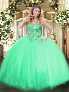 Eye-catching Floor Length Apple Green Quinceanera Dresses Tulle Sleeveless Appliques