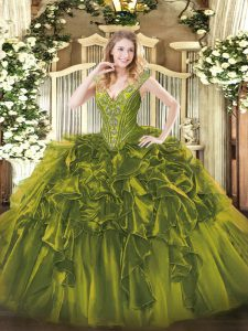 Flirting Olive Green Quinceanera Gowns Military Ball and Sweet 16 and Quinceanera with Beading and Ruffles V-neck Sleeveless Lace Up
