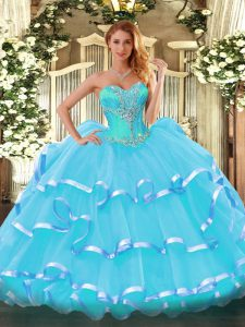 Classical Organza Sleeveless Sweet 16 Dress and Beading and Ruffled Layers