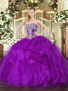 Clearance Strapless Sleeveless Quinceanera Dress Floor Length Beading and Ruffles Purple Organza