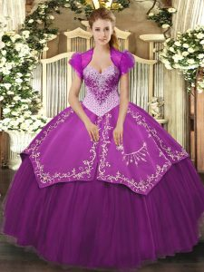 Sleeveless Lace Up Floor Length Beading and Embroidery 15 Quinceanera Dress
