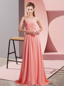 Cheap Watermelon Red Backless Prom Dresses Ruching Sleeveless Sweep Train